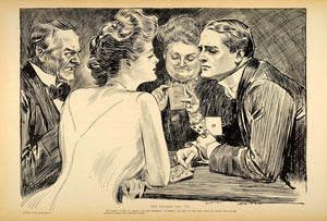 1906 Print Charles Dana Gibson Girl Man Playing Bridge Card Game Partner Romance
