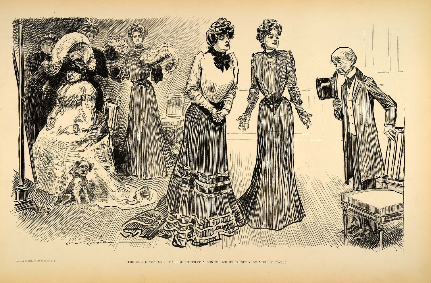 1906 Print Charles Dana Gibson Girl Hat Millinery Shop Victorian Fashion Satire
