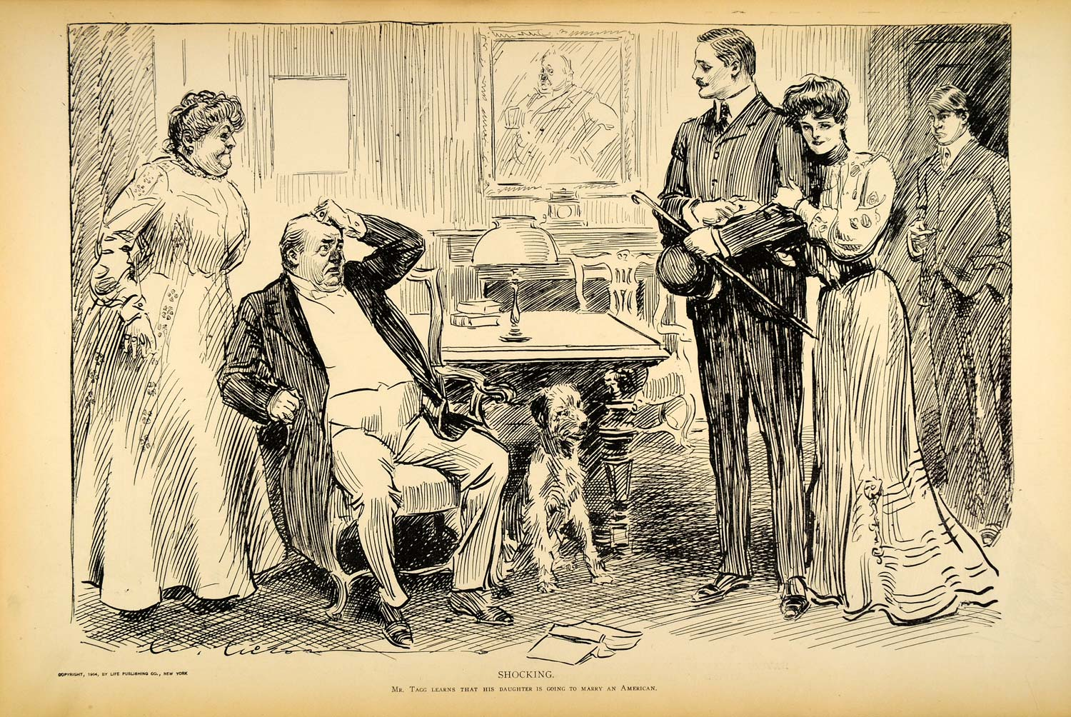 1906 Print Charles Dana Gibson Girl Mr. Tagg Daughter Engagement Victorian Art