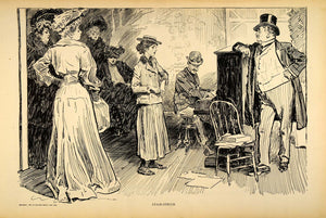 1906 Print Charles Dana Gibson Singer Audition Victorian Actress Stage Piano