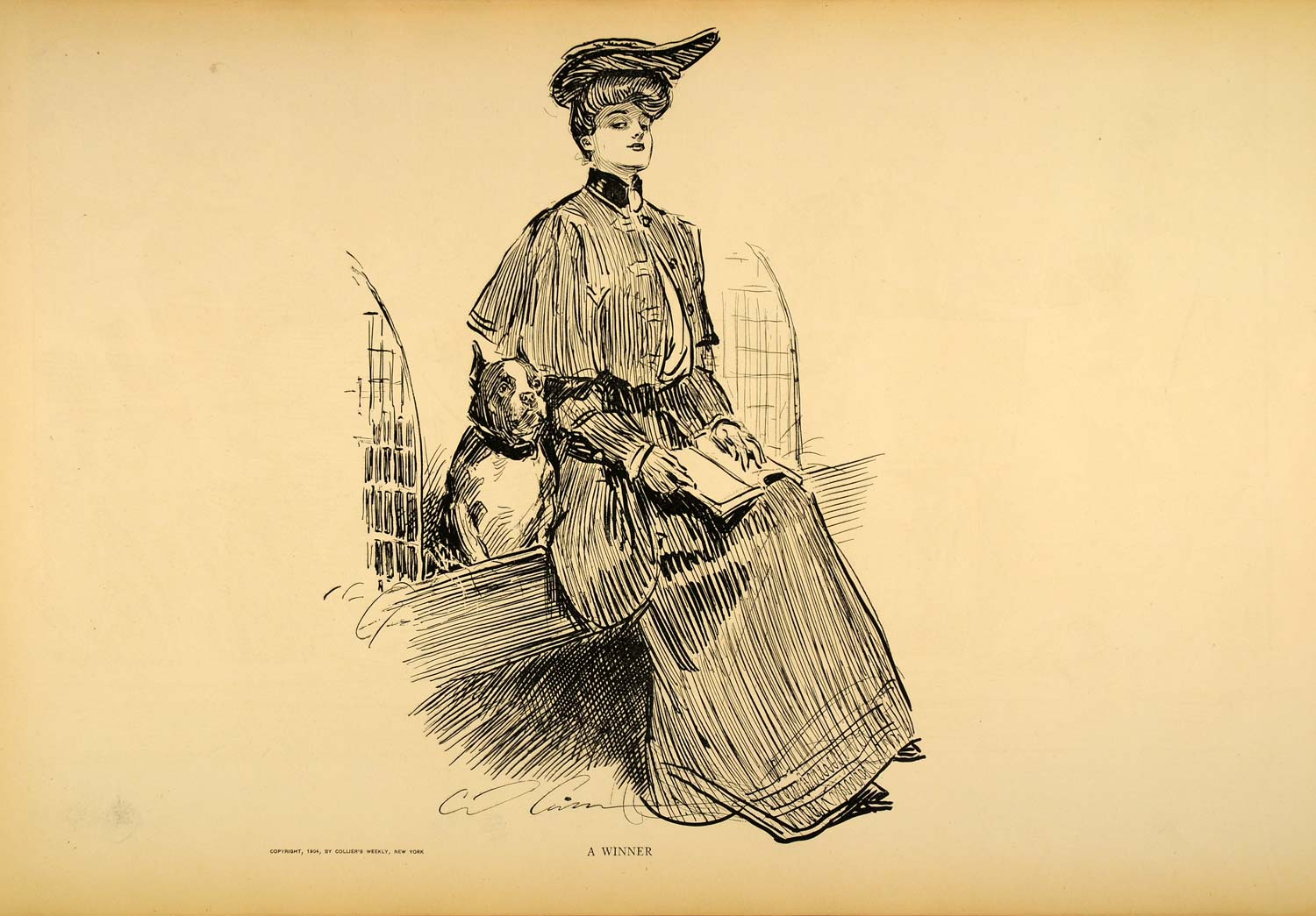 1906 Print Charles Dana Gibson Girl Winner Races Dog Victorian Fashion Drawing