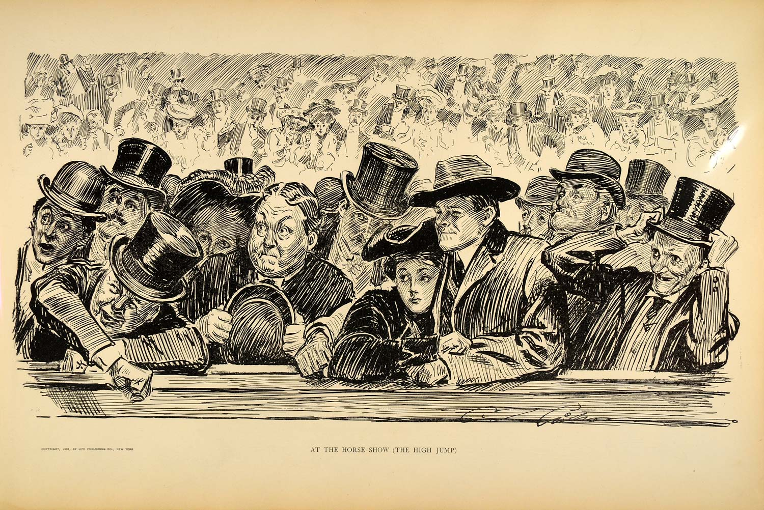 1906 Print Charles Dana Gibson Girl Horse Show Fans Victorian Spectators Drawing