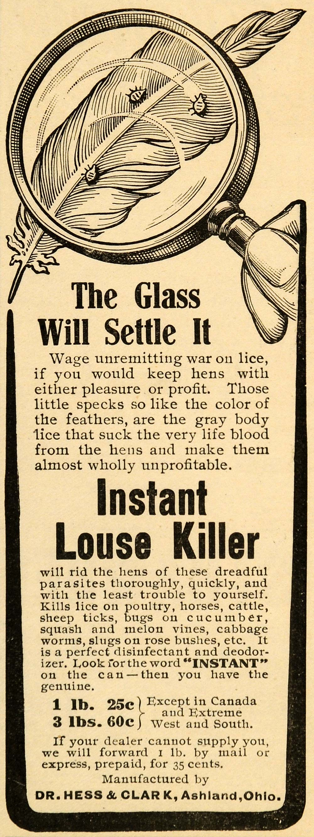 1907 Ad Dr Hess Clark Instant Louse Killer Lice Feather - ORIGINAL CG1