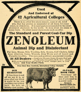 1907 Ad Zenoleum Cow Coal Tar Dip Disinfectant Zenner - ORIGINAL ADVERTISING CG1
