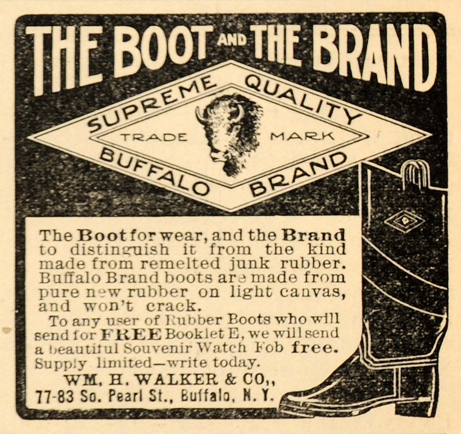 1907 Ad William H Walker & Company Buffalo Brand Boot - ORIGINAL ADVERTISING CG1