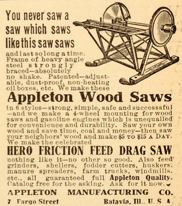 1907 Ad Appleton Manufacturing Wood Saw Hero Friction - ORIGINAL ADVERTISING CG1