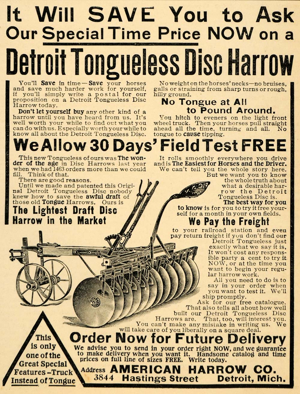 1907 Ad Detroit Tongueless Disc Plow American Harrow Co - ORIGINAL CG1