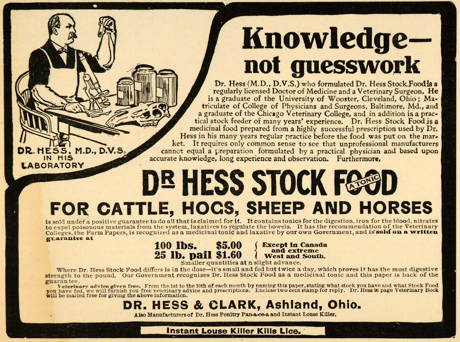 1907 Ad Tonic Stock Food Dr Hess & Clark Ashland Ohio - ORIGINAL ADVERTISING CG1