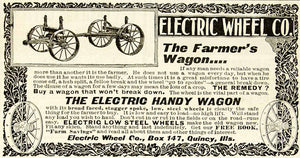 1898 Ad Electric Wheel Wagon Quincy Steel Farming Spokes Frame Axle Illinois CG3