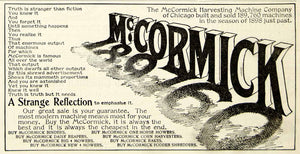 1899 Advert McCormick Harvesting Farming Equipment Daisy Reaper Mower CG3