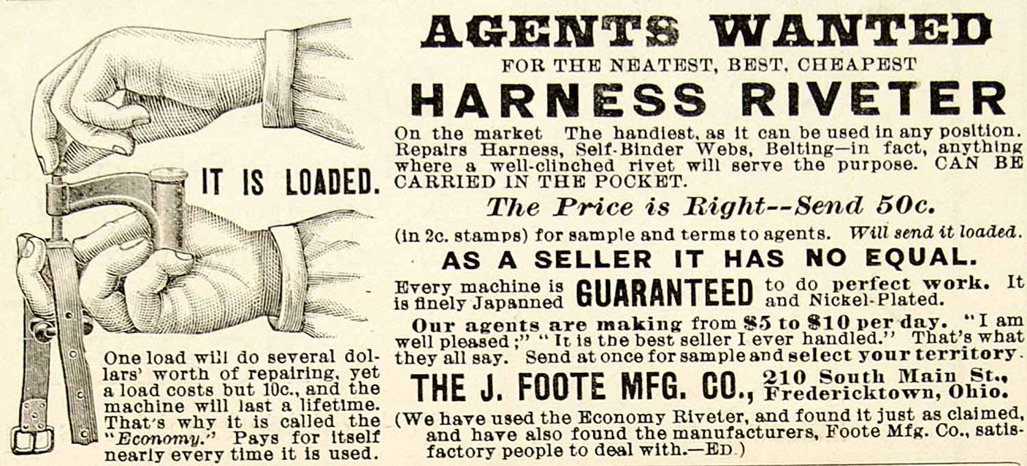1899 Ad Harness Riveter J Foote 210 South Main St Fredericktown Ohio Tool CG3