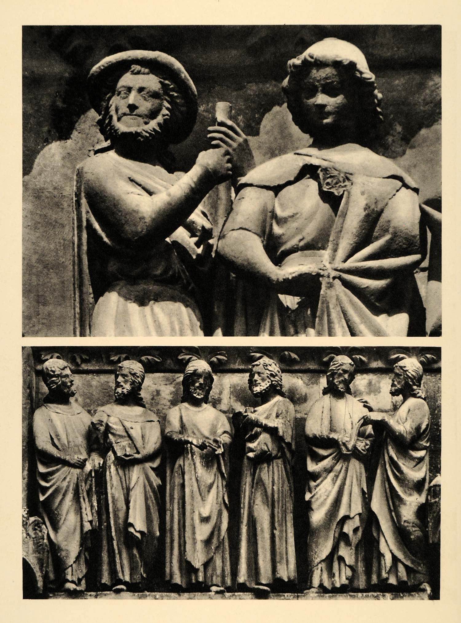 1937 Apostles Sculpture Amiens Cathedral France Gothic - ORIGINAL CH2