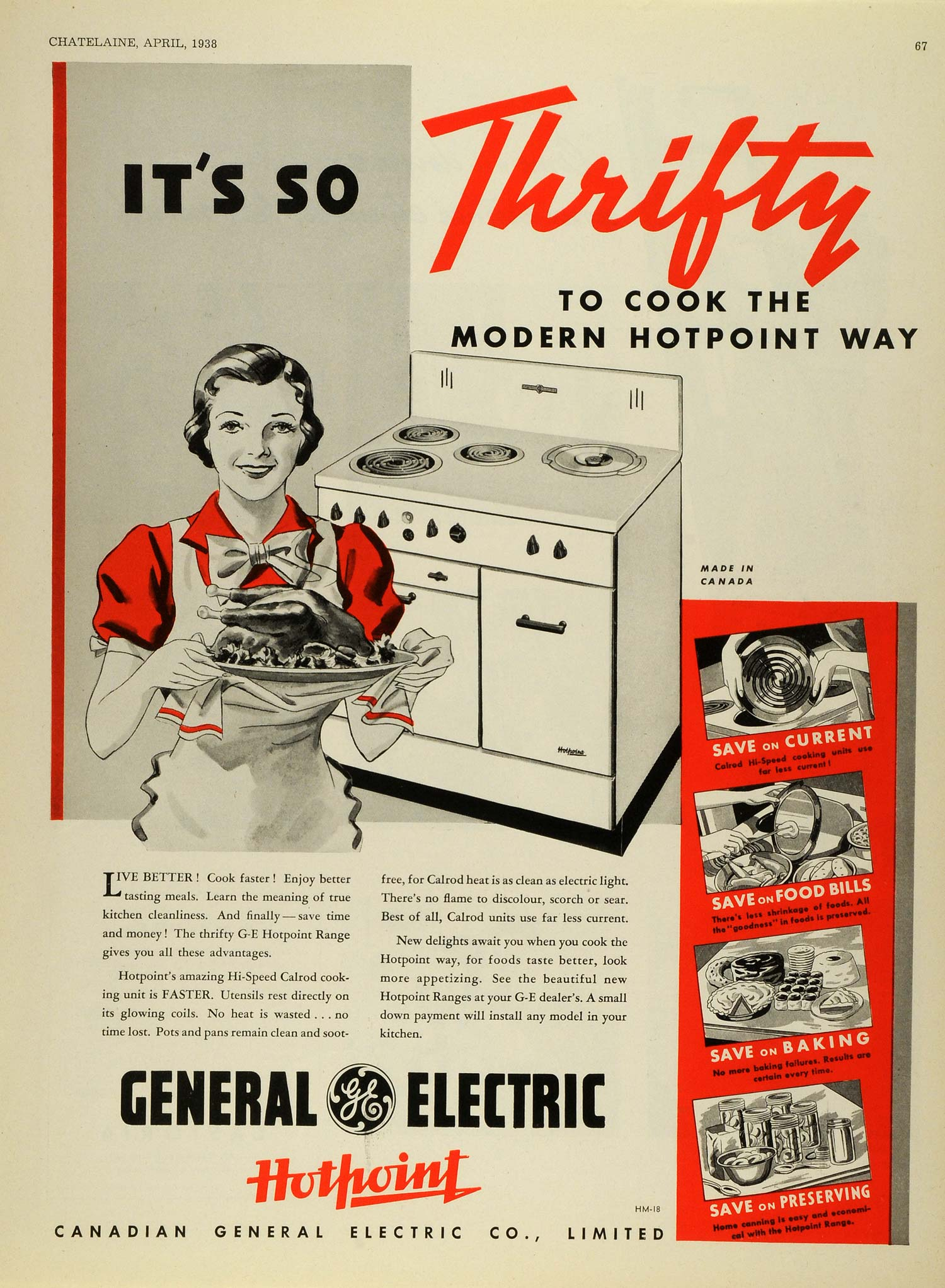 1938 Ad Canadian General Electric Co G E Hotpoint Stove Kitchen Applia Period Paper
