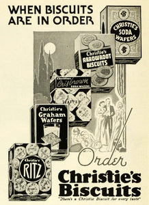 1938 Ad Christie's Products Soda Wafers Arrowroot Biscuits Graham Ritz CHA1