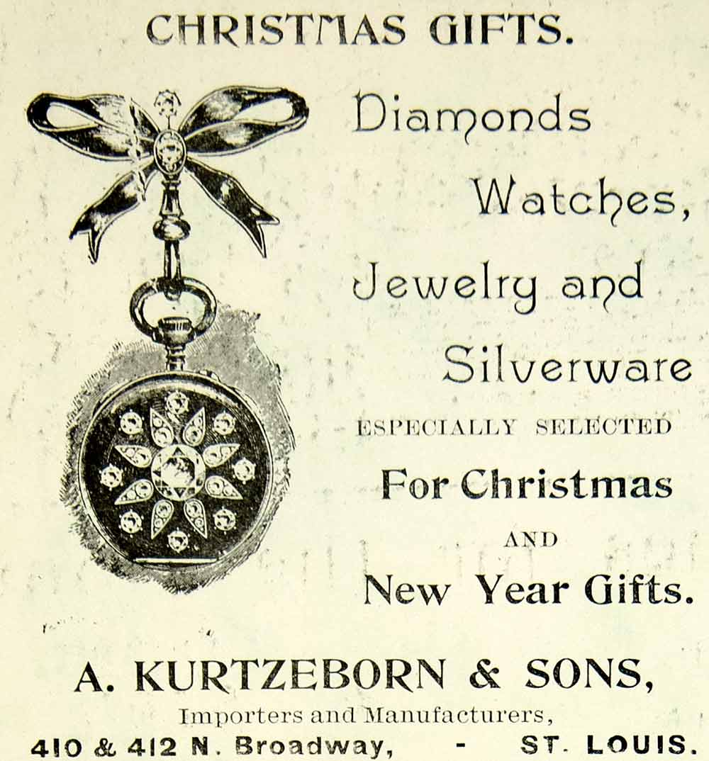 1895 Ad Kurtzeborn Diamonds Watches Christmas Gift 410 Broadway St Louis CHM2