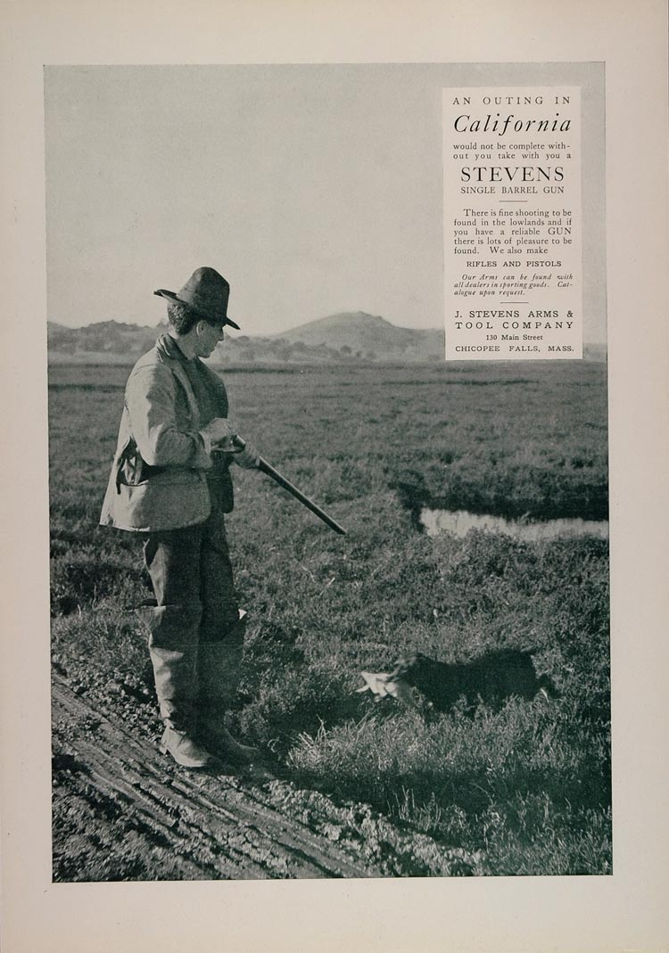 1902 Ad Stevens Single Barrel Gun Bird Dog Retriever - ORIGINAL ADVERTISING CL1
