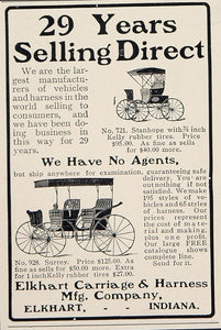 1902 Ad Elkhart Carriage & Harness Co. Stanhope Surrey - ORIGINAL CL1