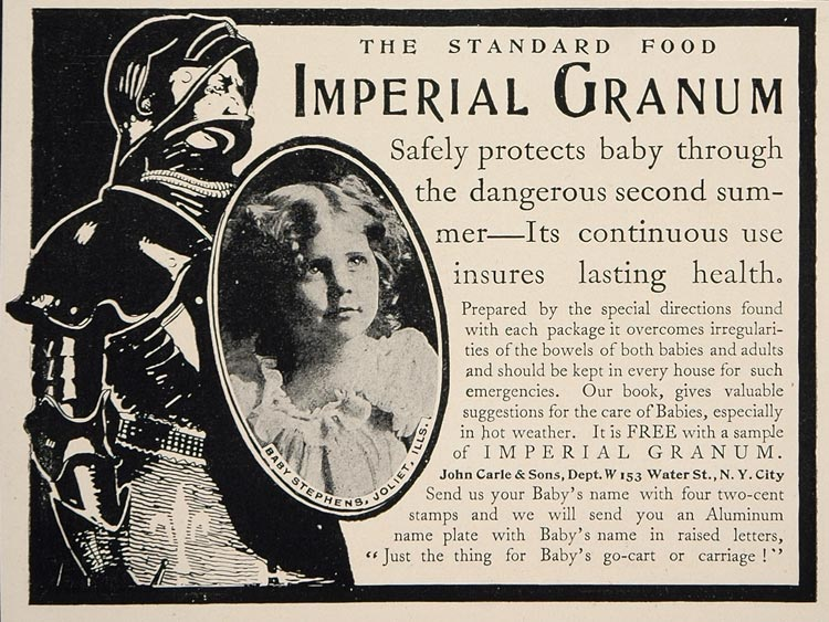 1902 Vintage Ad Imperial Granum Baby Food Knight Armor - ORIGINAL CL1