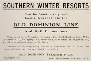 1902 Ad Old Dominion Line Steamships Southern Resorts - ORIGINAL ADVERTISING CL1