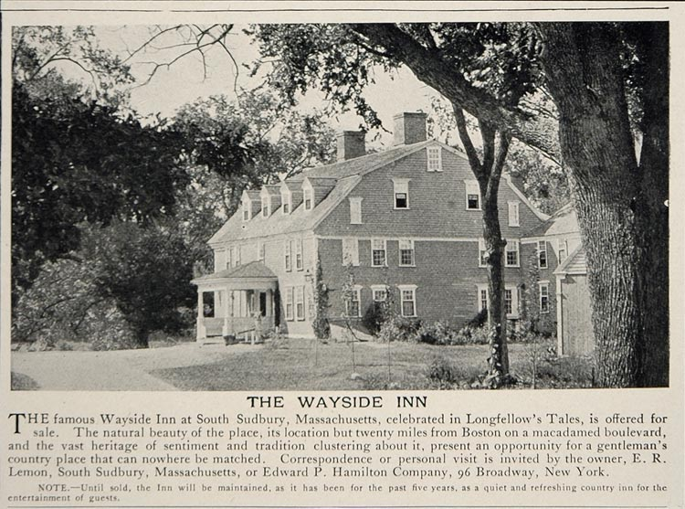 1902 Ad Wayside Inn Sudbury Mass. E.R. Lemon Longfellow - ORIGINAL CL1
