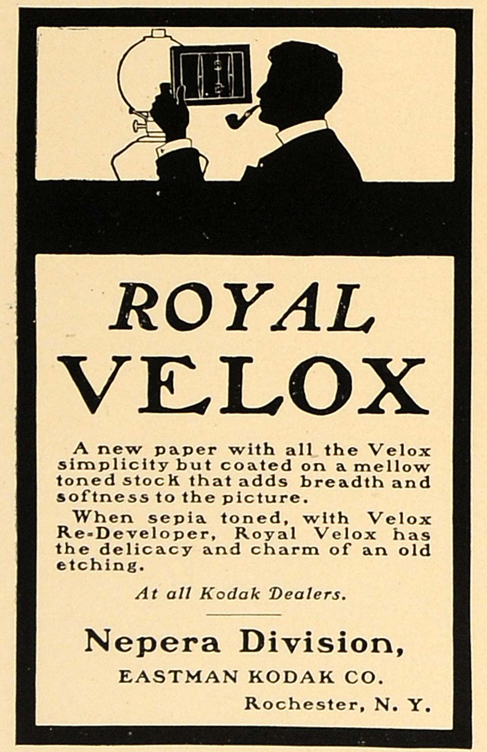 1924 Ad Royal Velox Kodak Re-Developer Nepera Paper - ORIGINAL ADVERTISING CL4