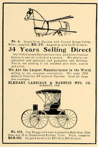 1907 Ad Elkhart Carriage Harness Indiana Top Buggy - ORIGINAL ADVERTISING CL4