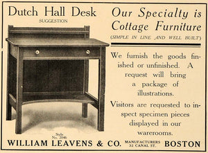 1907 Ad William Leavens Dutch Hall Desk 2046 Furniture - ORIGINAL CL4