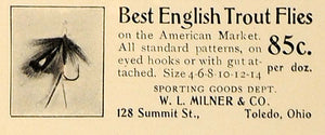 1907 Ad W.L. Milner English Trout Flies Fishing Lure - ORIGINAL ADVERTISING CL4