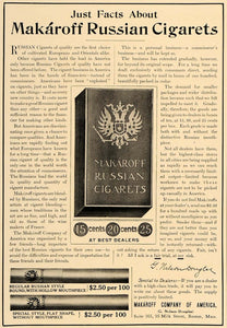 1907 Ad Makaroff Russian Cigarets Cigarettes Cigars - ORIGINAL ADVERTISING CL4