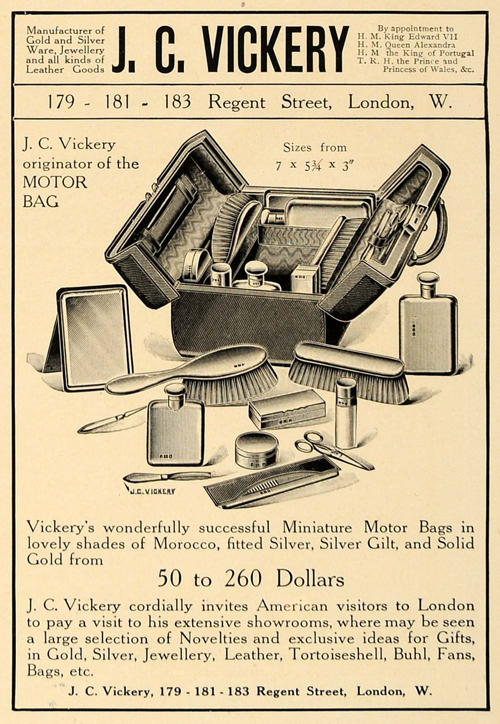 1907 Ad J.C. Vickery Miniature Motor Bag Sizes Pricing - ORIGINAL CL4