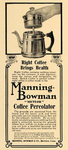 1907 Ad Manning-Bowman Meteor Coffee Percolator Pot - ORIGINAL ADVERTISING CL4