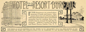 1913 Ad Country Life Hotel Resort Bureau Garden City NY - ORIGINAL CL4