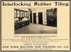 1907 Ad Webb Horton Mansion NY Belting Packing Tiling - ORIGINAL ADVERTISING CL4