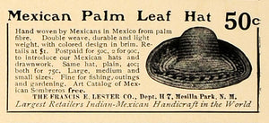 1907 Ad Frances E. Lester Mexican Palm Leaf Hat Pricing - ORIGINAL CL4