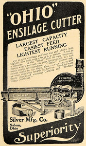 1907 Ad Ohio Ensilage Cutter Feed Machine Silver Mfg - ORIGINAL ADVERTISING CL4