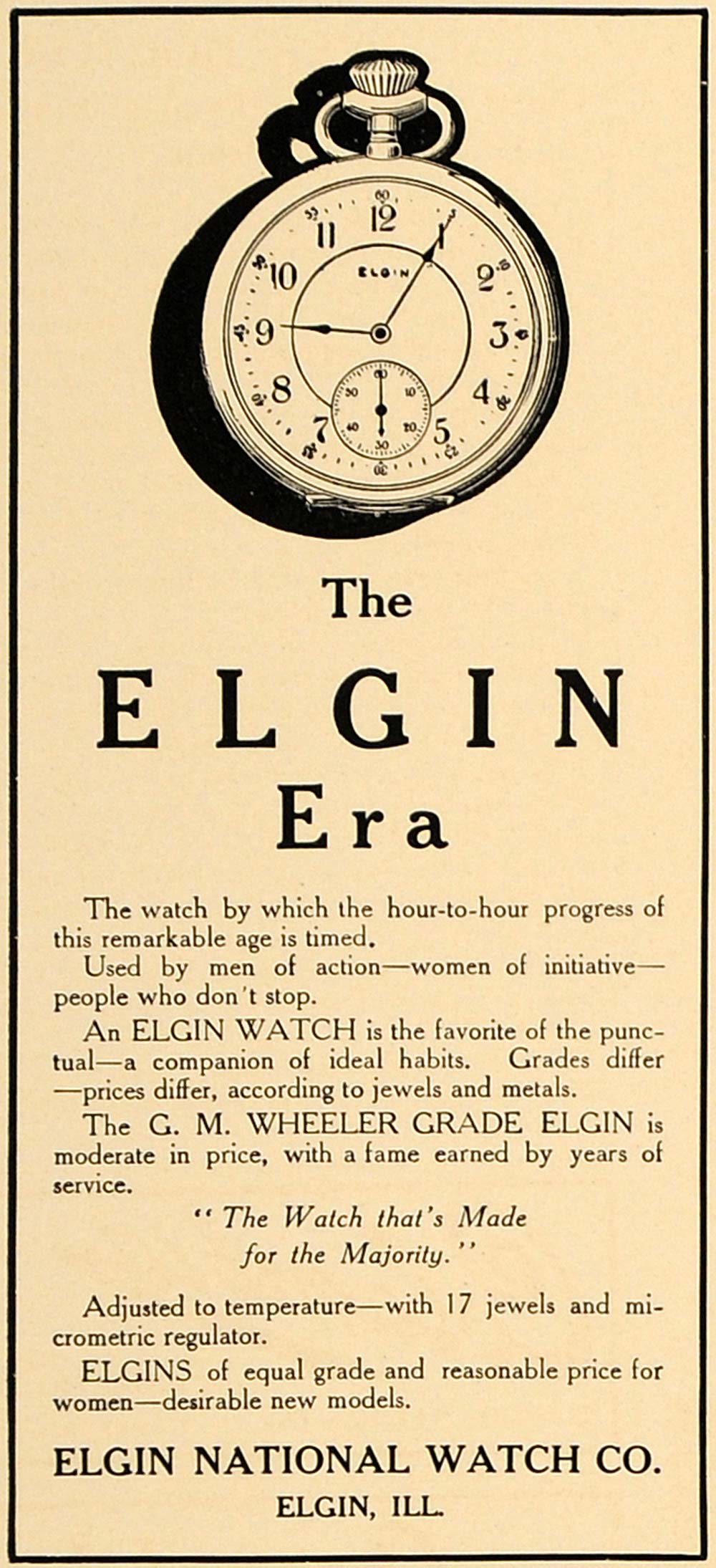 1907 Ad G.M. Wheeler Grade Elgin National Pocket Watch - ORIGINAL CL4