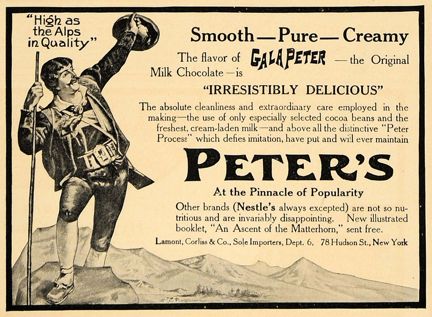 1907 Ad Gala Peter's Milk Chocolate Peter Process NY - ORIGINAL ADVERTISING CL4