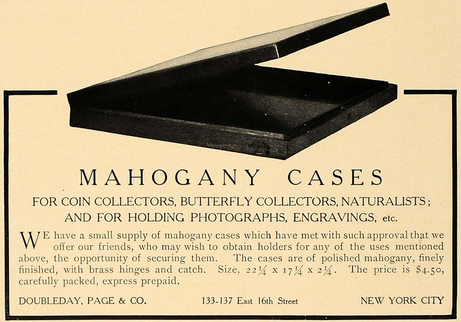1906 Ad Doubleday Page Mahogany Cases Collectors NY - ORIGINAL ADVERTISING CL4