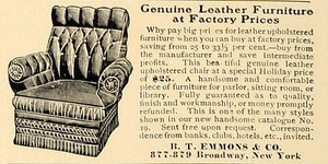 1906 Ad B. T. Emmons Leather Furniture Chair Upholstery - ORIGINAL CL4