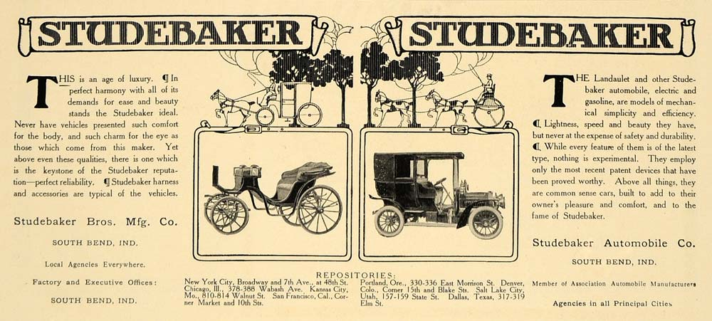 1906 Ad Studebaker Automobile South Bend Motor Car - ORIGINAL ADVERTISING CL4