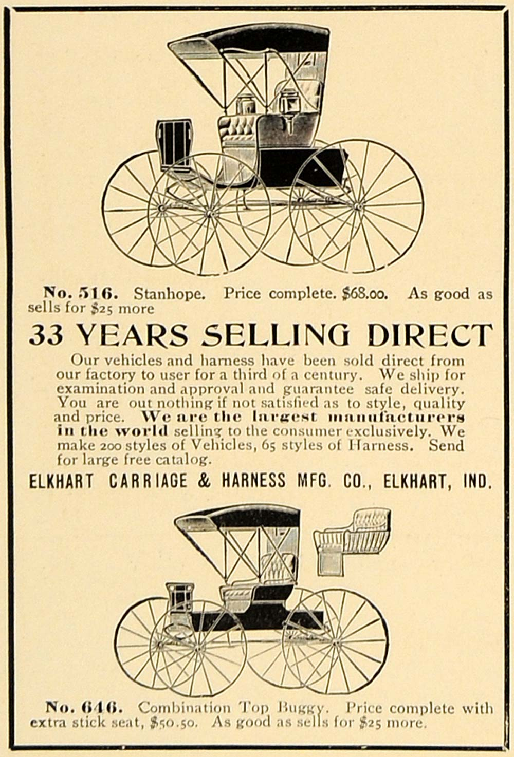 1906 Ad Elkhart Carriage Harness Models Pricing Indiana - ORIGINAL CL4