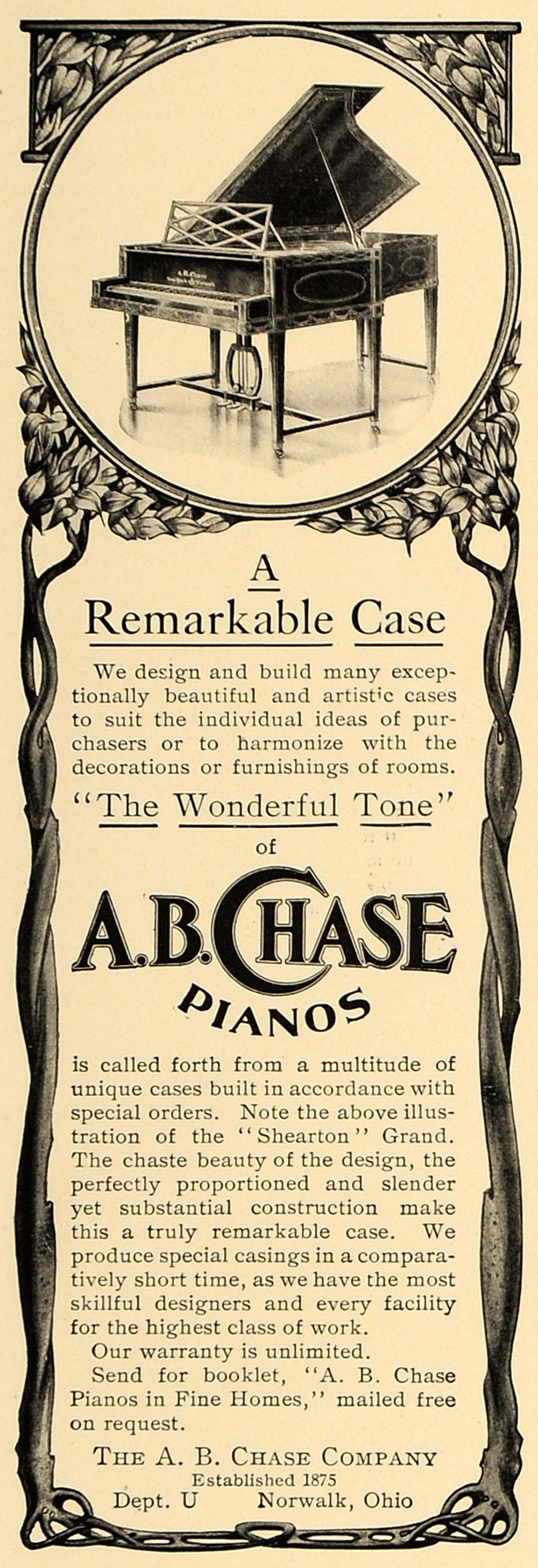 1906 Ad A.B. Chase Pianos Shearton Grand Norwalk Ohio - ORIGINAL ADVERTISING CL4