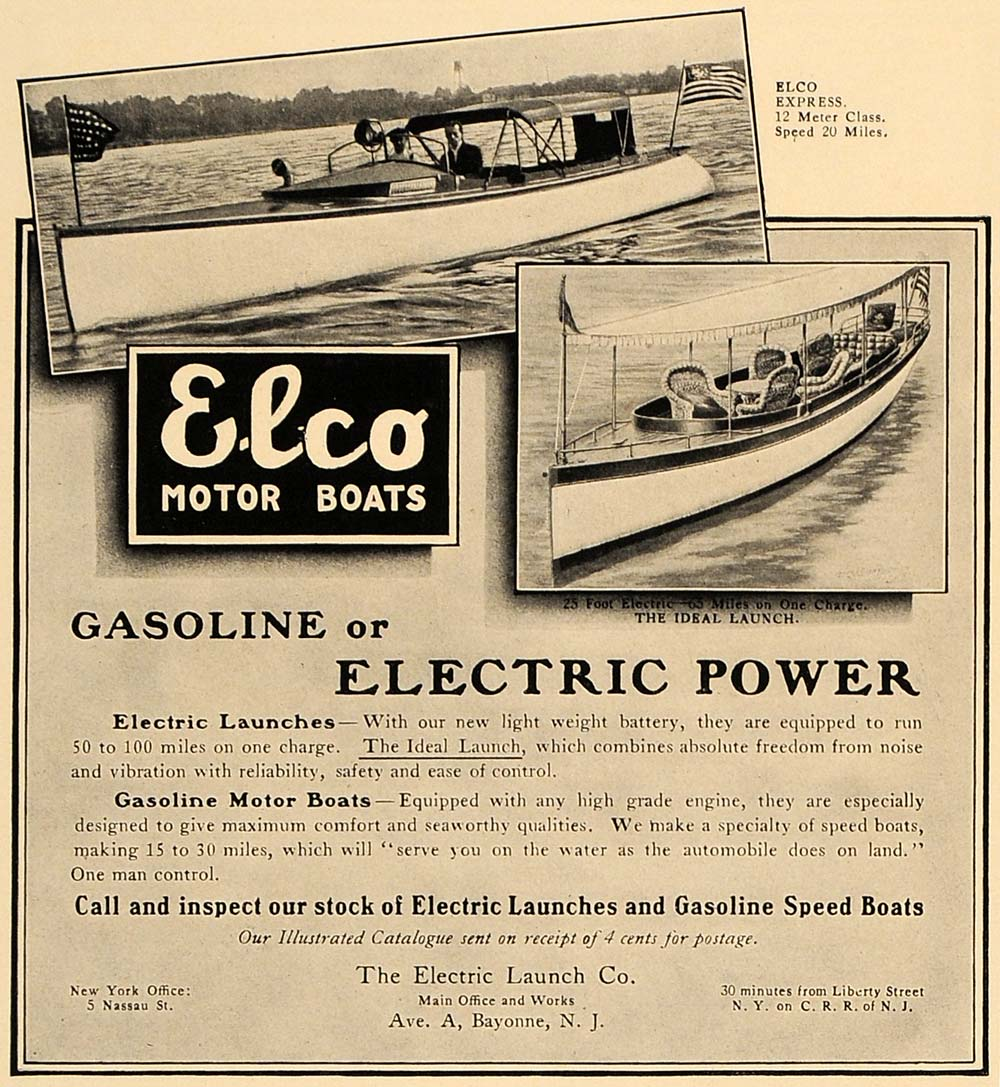 1907 Ad Elco Motor Boats Express Model Ideal Launch - ORIGINAL ADVERTISING CL4