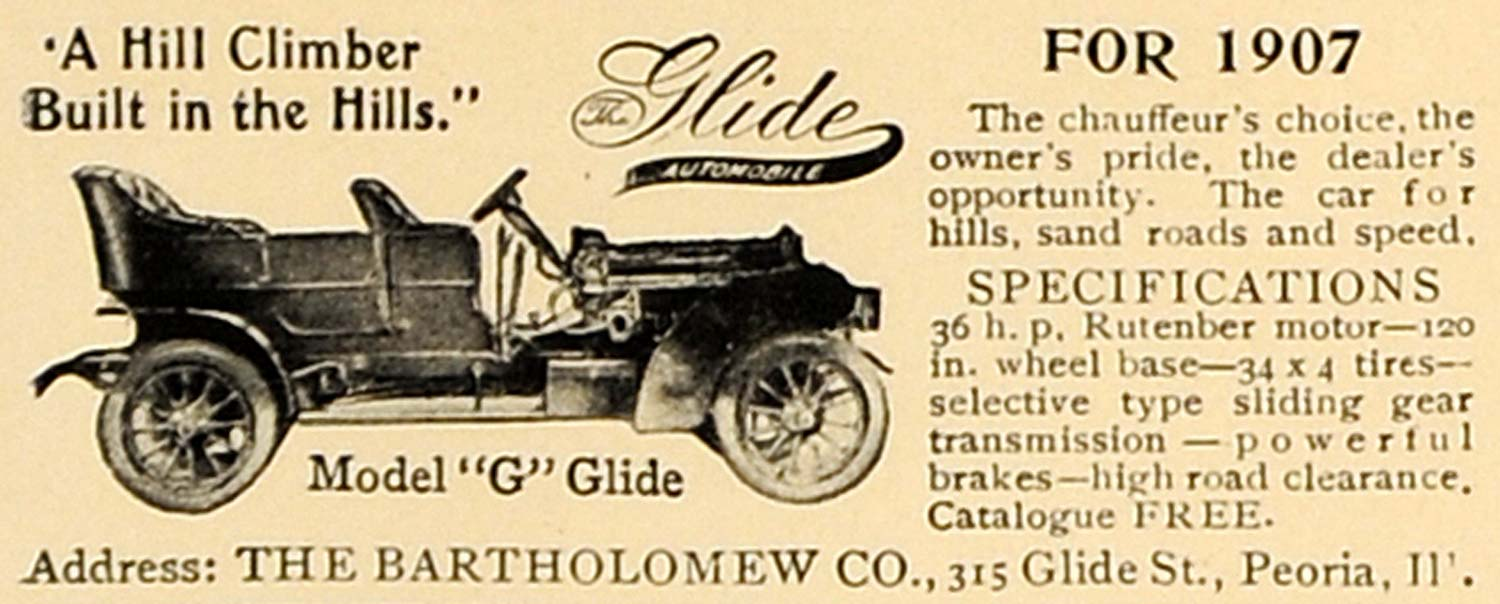1907 Ad Antique Glide Model G Automobile Rutenber Motor - ORIGINAL CL4