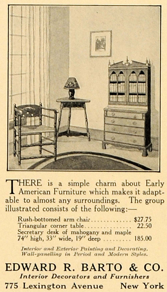 1923 Ad Edward R Barto Company Early American Furniture Original