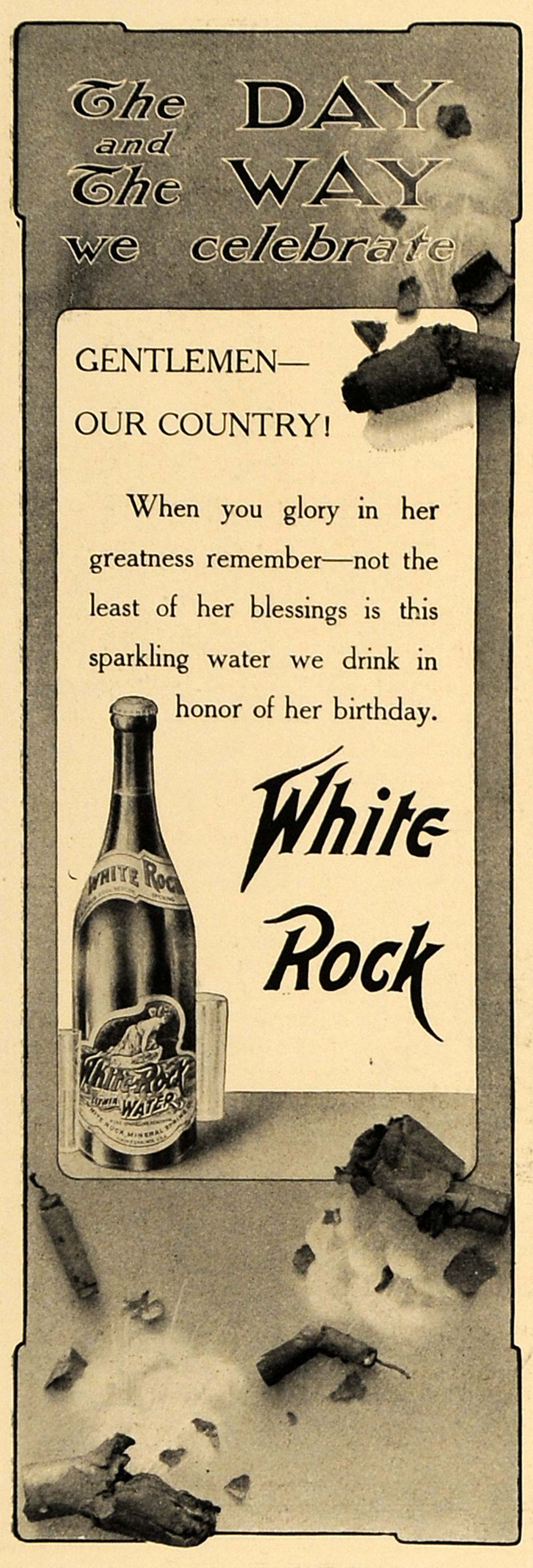 1905 Ad White Rock Sparkling Water Celebrate 4th July - ORIGINAL ADVERTISING CL4