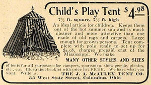 1905 Ad Child Play Tent Toy J A McAuley Company Camper - ORIGINAL CL4