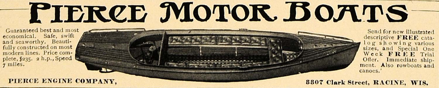 1905 Ad Pierce Engine Company Motor Boats Racine Canoe - ORIGINAL CL4