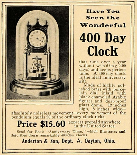 1905 Ad Anderton Son 400 Day Clock Brass Arabic Figures - ORIGINAL CL4