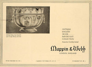 1919 Ad Mappin Webb Monteith Bowl William III 1698 Deco - ORIGINAL CL4
